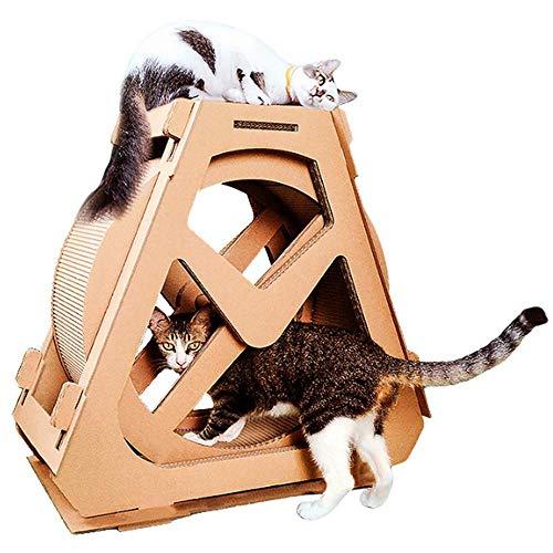 HEI SHOP Kratzbrett für Katzen, mit Laufrad und Laufrad, für den Innenbereich, Größe L