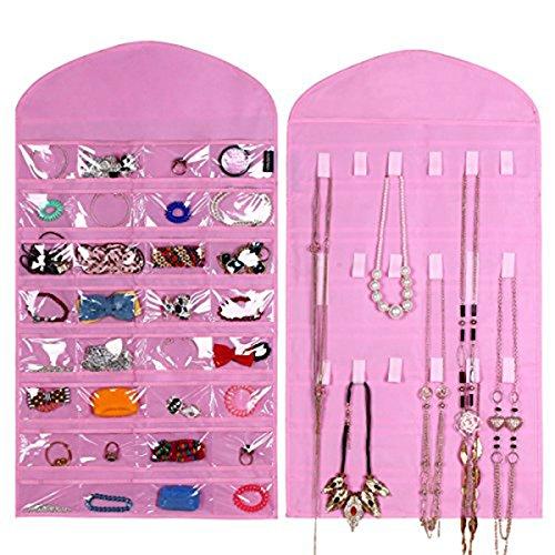 Supertech Organizador de Joyas de Colgante Titular Doble lado 32 bolsillos 18 de gancho y bucle,Pink