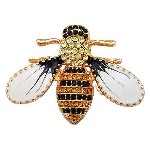 (SELOVO Brosche Biene Emaille Gelb Schwarz Kristall Honigbiene)