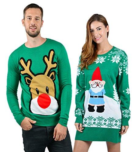 Uideazone Frauen Damen Print Santa Claus Tunika Kleid hässliche Weihnachten Strickpullover Kleider grün groß (Tunika Grafik-t-shirt)