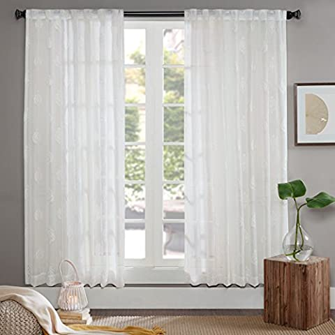 URBAN HABITAT Aria Voile Off White Classical Curtains, Embroidery Tulle Curtain, Embroidered Sheer Window Panel for Living Room (60*84 inches, 2 Panels)