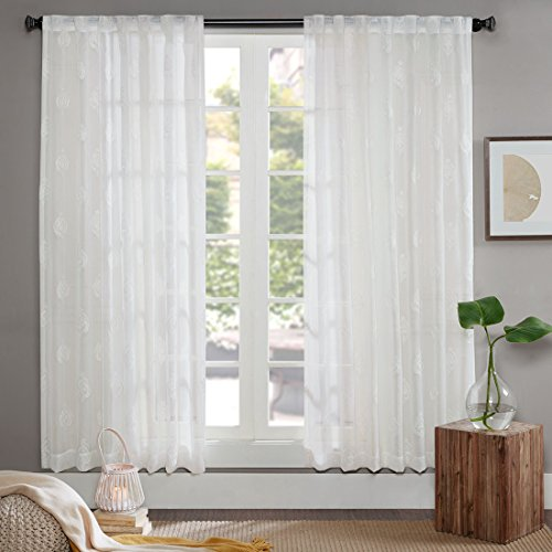 ... High Thread Classical Embroidery Sheer Voile Window Curtain Sets, Rod  Pocket, Back Tab, Modern Window Treatments (58 Part 64
