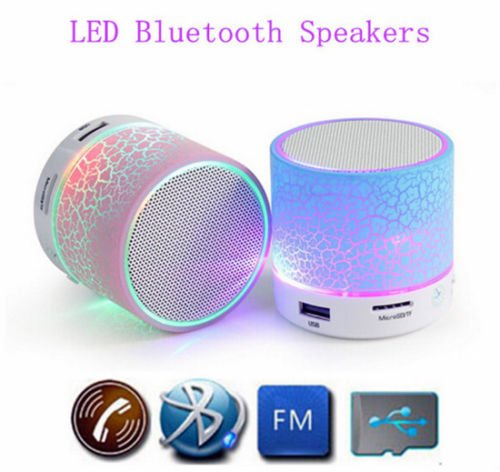 Gionee Pioneer Devices Compatible Certified Wireless Mini LED Lights Bluetooth Speaker - Bluetooth, USB, MicroSD Slot (1 Year Warranty)  available at amazon for Rs.299