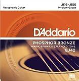 D\'Addario Cordes pour guitare à résonateur avec revêtement D\'Addario EJ42, 16-56