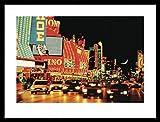 Las Vegas Poster Reproduction et Cadre (MDF) Noir - Fremont Street, Las Vegas (80 x 60cm)