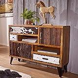 FineBuy Sideboard Jolin 120 x 35 x 88 cm Massivholz Kommode mit 3 Schubladen | Industrie Design Anrichte mit Ablagefach | Highboard Massiv mit Türen Bunt Modern