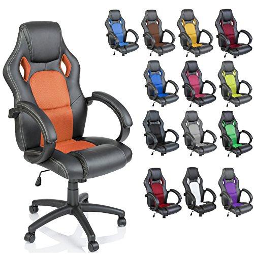 TRESKO Racing Chefsessel Bürostuhl Drehstuhl 14 Farbvarianten, gepolsterte Armlehnen, Wippmechanik, Lift SGS geprüft (schwarz/orange)
