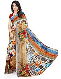 Anand Sarees Faux Georgette Printed Red Color With Blouse Piece (1423)