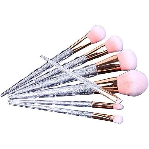 maquillaje unicornio kawaii Juego de 7 brochas Robinson con diseño de unicornio, ideales para maquillaje facial, cuentan con mango de acrílico con purpurina y suaves cerdas, incluye estuche