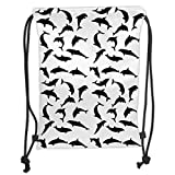 Custom Printed Drawstring Backpacks Bags,Dolphin,Smart Ocean Mammal Silhouettes in Various Actions Jumping Swimming Sea Animals,Black White Soft Satin,5 Liter Capacity,Adjustable String Closure,T