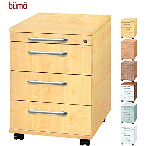 Bümö® Rollcontainer mit 3 Schüben & Schloss | Bürocontainer aus Holz | Tischcontainer mit