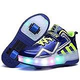 FZ FUTURE Led Luces Zapatos con Ruedas, Automática Ajustables Ruedas Zapatos, LED Luz Moda Aire Libre Parpadea de Skate Aire Libre Gimnasia Trainers,Blue,34