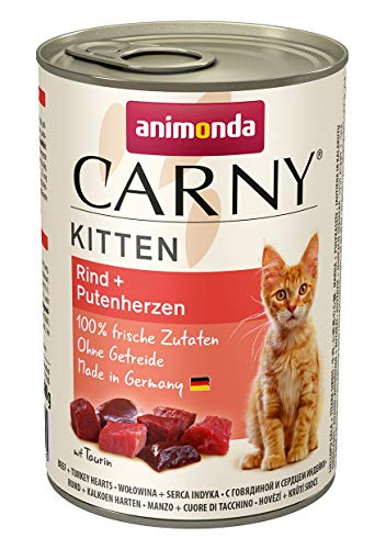 Animonda Carny Kitten Katzenfutter, Nassfutter Katzen bis 1 Jahr, Rind + Putenherzen (6 x 400 g)