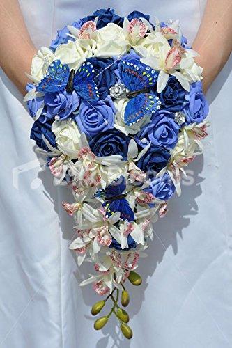 Blu navy, blu cielo e avorio e rosa madagascar orchidea cascata matrimonio bouquet w/farfalle