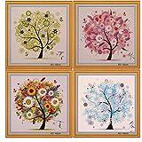 Oulensy 1x Multicolor Contado Pinturas de Punto de Cruz de Cuatro Estaciones Árbol Patrones de Punto de Cruz Bordado de la Costura del hogar del Cuadro de la decoración