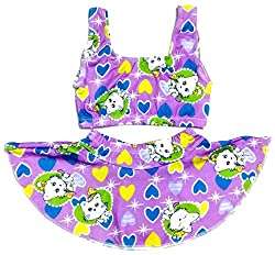 Kids Girls Swim 2 Piece Suit Purple Cat Heart Cartoon Print (Swimming Costume Swimwear & Beach Wear)
