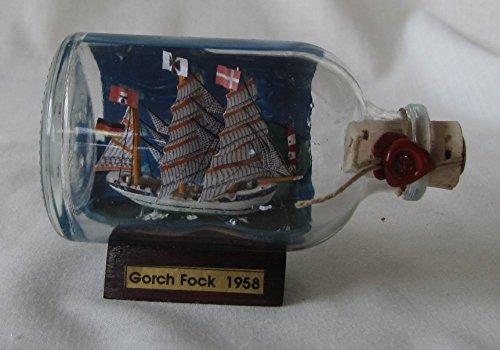 BBV GORCH FOCK Schulschiff der Bundesmarine mit Landschaft und blauen Himmel Mini Buddelschiff 50 ml ca. 7,2 x 4,5 cm Flaschenschiff