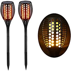 Lighting Arena Torche LED Extérieur étanche & Solaire - Décoration de Jardin - Effet Flamme - Lot de 2