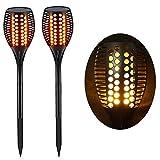 Lighting Arena Torche LED Extérieur étanche & Solaire - Décoration de Jardin - Effet Flamme - Lot de 2...
