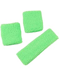 Just 4 Fun Leisurewear Neon Green Sweatband Headband & 2 Wristbands One size