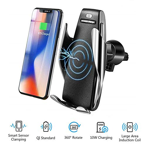 NAttnJf Telefonhalter Automatische Klemmung Qi Wireless Mount Air Vent Car Charging Charger für iPhone XS Max XR X 8/7/6/6 s Plus Samsung Galaxy S5 / S6 / S7 / S8 / S9 Hinweis 9 8 GPS
