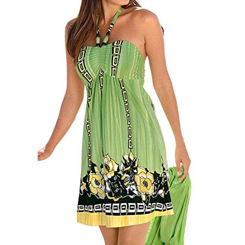 Femmes Robe,Tonwalk Boho Imprimé floral Sans manches Robe de plage Robe courte Mini Vert