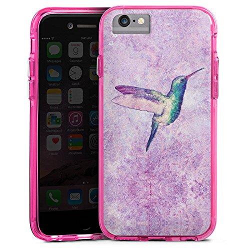 Apple iPhone 6s Plus Bumper Hülle Bumper Case Glitzer Hülle Kolibri Bird Vogel Bumper Case transparent pink