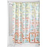 InterDesign Max Textil Duschvorhang | Vorhang aus Stoff mit geometrischem Muster | 183 cm x 183 cm Duschabtrennung für Badewanne und Duschwanne | Polyester pastellfarben
