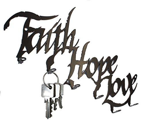 Schlüsselbrett / Hakenleiste * Faith Hope Love * - Schlüsselboard - 6 Haken