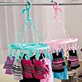SKD Plastic Foldable Portable Hanging Dryer Clothes Drying Hanger Rack with 18 Clips (multiclour)