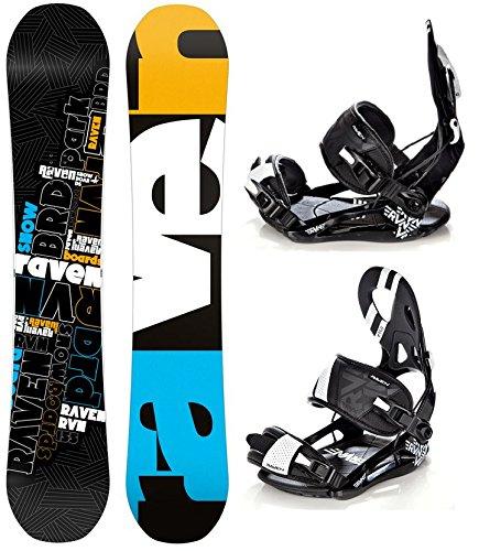Snowboard Set: Snowboard Raven RVN Black Rocker + Bindung Raven s250 Black L
