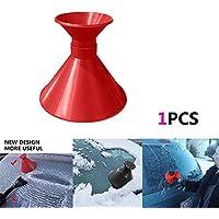 Hongfutong Parabrisas, removedor de Hielo, Cepillo para Nieve, rascador, Herramienta de eliminación de Nieve en Forma de Cono para Ventana de automóvil (Red Double Side)