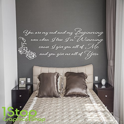 1Stop Graphics Shop   JOHN LEGEND BEGINNING WALL STICKER QUOTE   BEDROOM  HOME WALL ART DECAL X243   Colour: Black   Size: Large