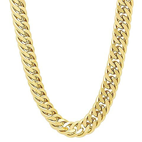 9mm 14k Gold Plated Double Cuban Link Curb Chain Necklace, 61 cm + Microfiber Jewelry Polishing Cloth