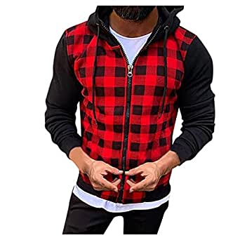 Outtop(TM) Coat for Men,Lastest Outwear Jacket,Man Plaid Patchwork Hood Sweatshirt Causal Long Sleeve Shirt Coat Zipper Jacket, Casual Cotton Overcoat for Winter Party Red