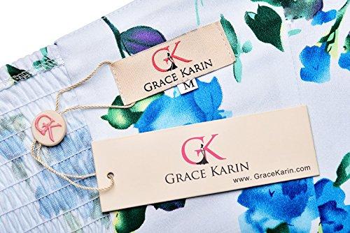 GRACE KARIN Femme Rockabilly Robe Rétro Licou Vintage Dos Nu Sexy Robe CL6075 Floral-3