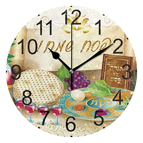 Hectwya Happy Shavuot Runde Acryl Wanduhr Nicht Ticken Stille Uhren für Wohnkultur Wohnzimmer Küche Schlafzimmer Büro Schule