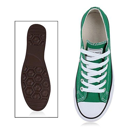 Trendige Unisex Sneakers | Low-Cut Modell | Basic Freizeit Schuhe | Viele Farben | Gr. 36-45 Moosgrün