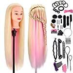 "Hairdressing Training Head Synthetic 100%, Mysweety 29"" Mannequin Head with Synthetic Hair for Beauty Salon Students Practice Braid, with Table Clamp & Styling Accessories, Blonde Pink Hair, 22"