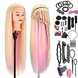 Frisierkopf für Frisöre, MYSWEETY 100% Synthetisches Haar Trainingskopf für Kinder Training...