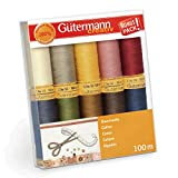 Gutermann 734521-3 - Juego de hilos (algodón natural, 50 rollos de 100 m, 10 unidades), multicolor
