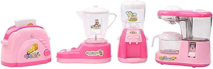 Toykart Kitchen Utility Household 4 in 1 Appliances Battery Operated Play Set with Light and Sound for Kids (Pink)