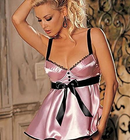 SMSM Pyjamas D'Amour Chaud Pour Adultes Fun Temptation Conjoined Dew Transparent Pyjamas de Dentelle Nightclub Sauna Fun Underwear,Rose