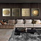 Tanyang Estratto Oro Nero Bianco Moderno Quadrato Trama 4 Pezzi Quadri su Tela Dipinti e Stampe Quadri d'Arte per Soggiorno complementi arredo casa Senza Telaio 20 * 20cm*4