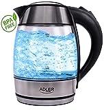 Glas Wasserkocher | Edelstahl Wasserkocher | Design Wasserkocher | Water Kettle | Wasserkessel | 100% BPA-Frei | 1,8 L | 2000 Watt | Mit blauer LED Innenbeleuchtung |