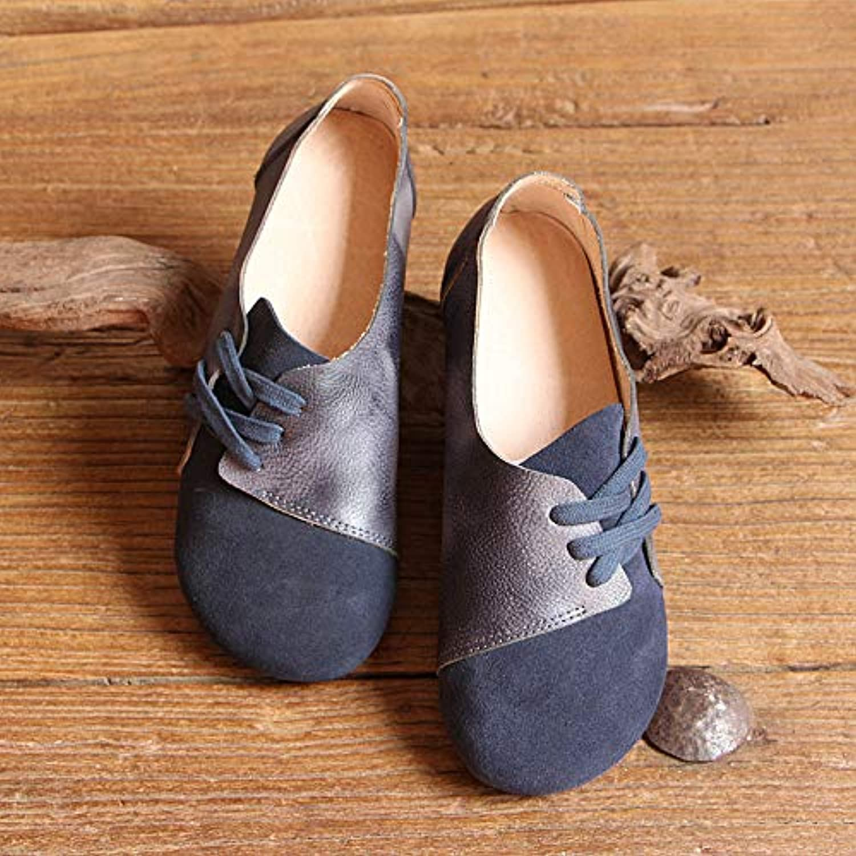 AIMENGA Zapatos Planos Zapatos De Mujer Planos Vendaje Retro Zapatos, Tinta Azul, Treinta Y Cinco