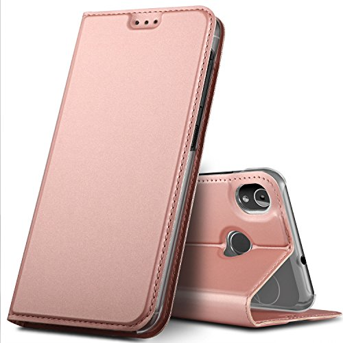 GeeMai Gigaset GS185 Hülle, Premium Gigaset GS185 Leder Hülle Flip Case Tasche Cover Hüllen mit Magnetverschluss [Standfunktion] Schutzhülle handyhüllen für Gigaset GS185 Smartphone, Rosegold