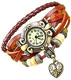 Kim Johanson Damen Armbanduhr aus Leder Braun - Retro Herz Uhr Neu & OVP inkl. Geschenkverpackung