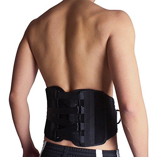 BRACOO Rückenbandage – Rückenstütze – Rückenschutz – Rückengurt – Stützgürtel | verstellbarer Rückenstützgürtel für einen geraden Rücken | S/M