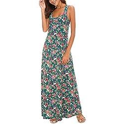 Vestido Maxi Mujer sin Mangas Estampado Floral (XL, 1)